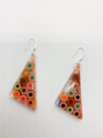 Cercei in forma de triunghi cu creioane colorate din argint [3]