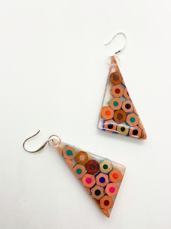 Cercei in forma de triunghi cu creioane colorate din argint [0]