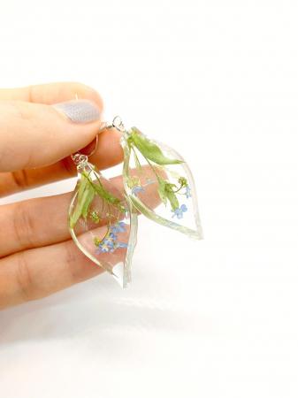 Cercei cu flori de nu ma uita si argint - Cercei Handmade [1]