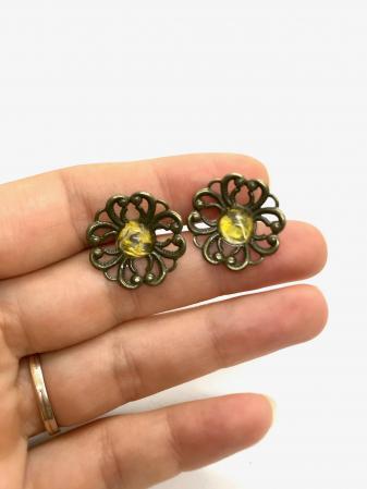 Cercei cu flori galbene2