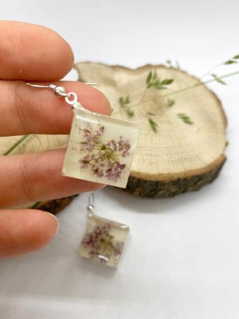 Cercei cu flori mov - Cercei Handmade [4]
