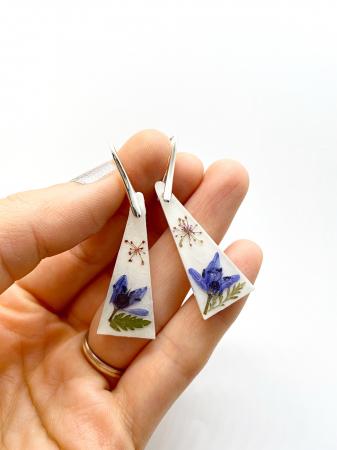Cercei cu flori montati in argint - Cercei Handmade [1]