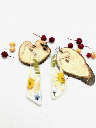 Cercei cu flori si frunze handmade [3]