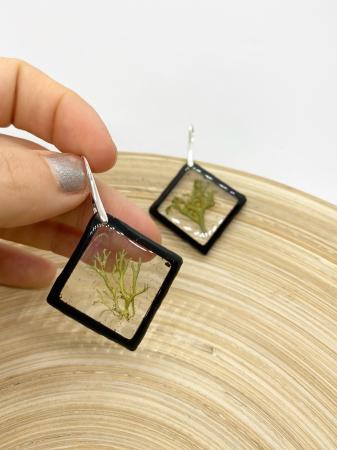 Cercei romburi cu licheni si agatatoare din argint3