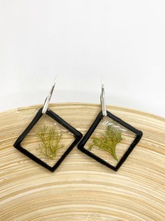 Cercei romburi cu licheni si agatatoare din argint10