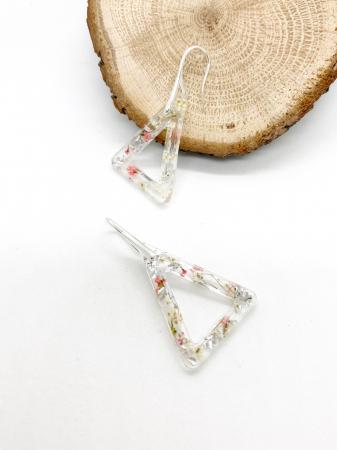Cercei cu flori si foita de argint - Cercei Handmade [2]