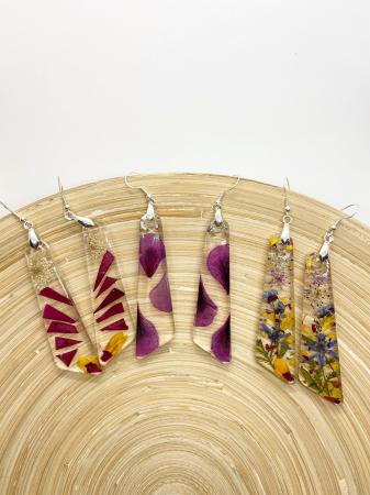 Cercei din argint cu petale de flori [7]