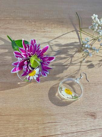 Cercei din argint cu petale si flori de margarete6