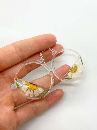 Cercei din argint cu petale si flori de margarete [0]