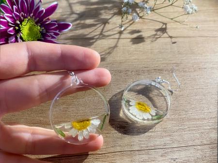 Cercei din argint cu petale si flori de margarete [12]