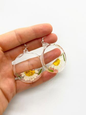 Cercei din argint cu petale si flori de margarete [2]