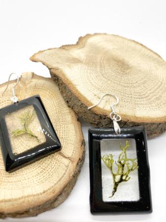 Cercei dreptunghiuri cu licheni si agatatoare din argint [5]