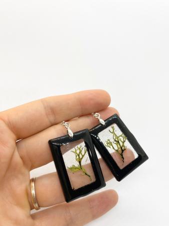 Cercei dreptunghiuri cu licheni si agatatoare din argint [6]