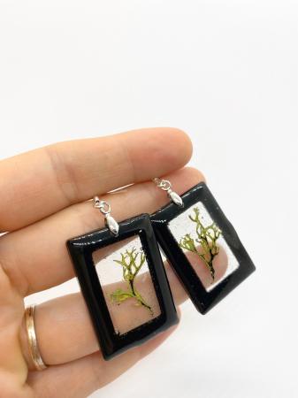 Cercei dreptunghiuri cu licheni si agatatoare din argint [12]