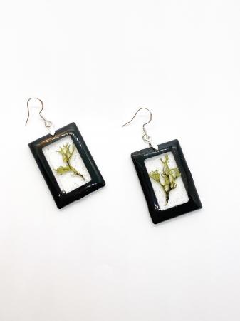 Cercei dreptunghiuri cu licheni si agatatoare din argint [2]
