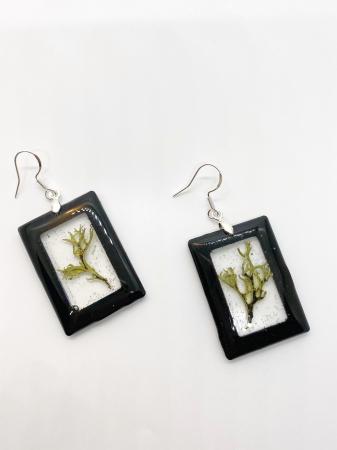 Cercei dreptunghiuri cu licheni si agatatoare din argint [0]