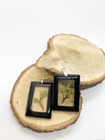 Cercei dreptunghiuri cu licheni si agatatoare din argint [10]