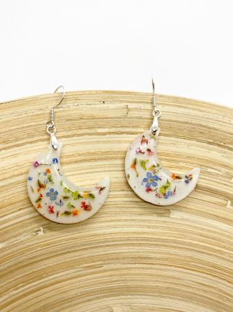 Cercei in forma de luna cu flori - Handmade [5]