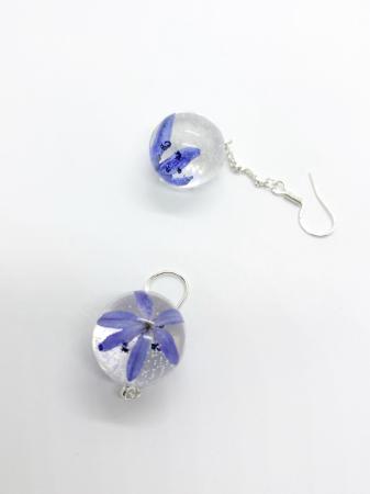 Cercei sfere cu viorele - Cercei Handmade [5]