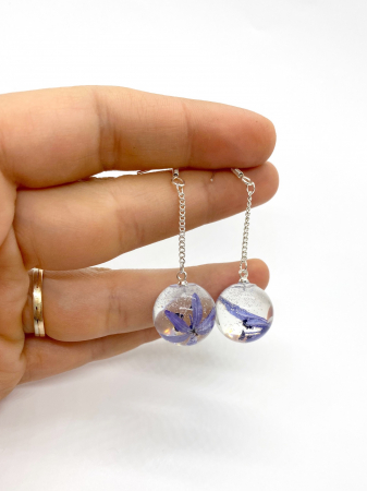 Cercei sfere cu viorele - Cercei Handmade [2]