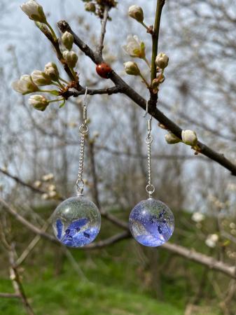 Cercei sfere cu viorele - Cercei Handmade [8]