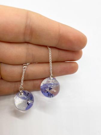 Cercei sfere cu viorele - Cercei Handmade [3]