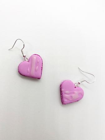 Cercei macarons inimioara roz4