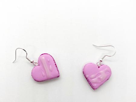 Cercei macarons inimioara roz7