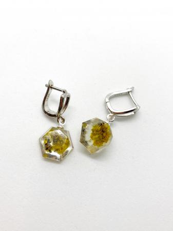Cercei hexagonali cu licheni si agatatoare din argint0