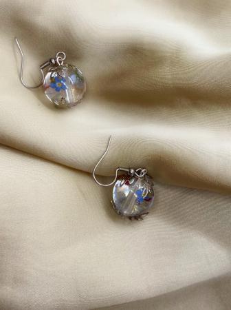 Cercei sfere cu flori handmade [4]