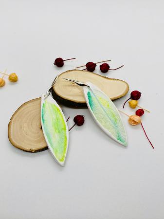 Cercei cu frunza de argint handmade [1]