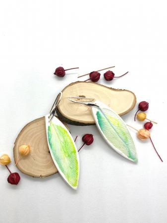 Cercei cu frunza de argint handmade [2]