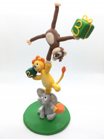 Figurina de tort cu animale - 3 ani - handmade [1]