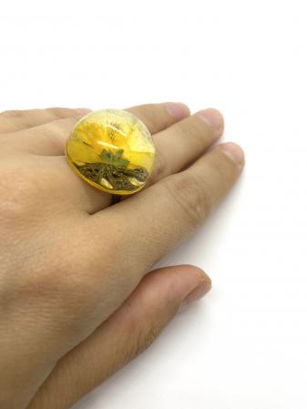 Inel cu floare galbena cercercei [4]