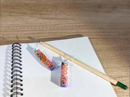 Cercei cu creioane colorate din argint [3]