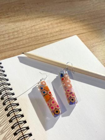 Cercei cu creioane colorate din argint [5]