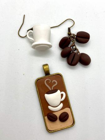 Set cafea din lut polimeric  - Handmade [4]