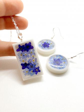 Set de bijuterii cu flori albastre - Set bijuterii handmade [3]