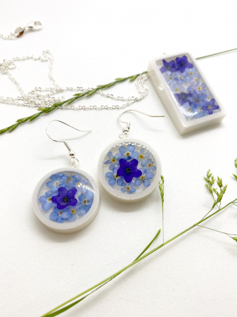 Set de bijuterii cu flori albastre - Set bijuterii handmade [0]