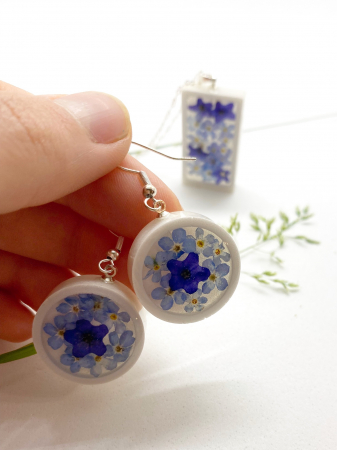 Set de bijuterii cu flori albastre - Set bijuterii handmade [5]