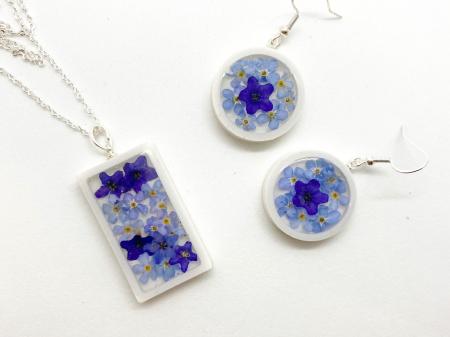 Set de bijuterii cu flori albastre - Set bijuterii handmade [2]