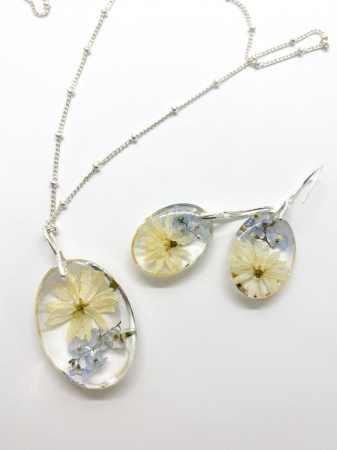 Set de bijuterii cu flori - Set bijuterii handmade [7]
