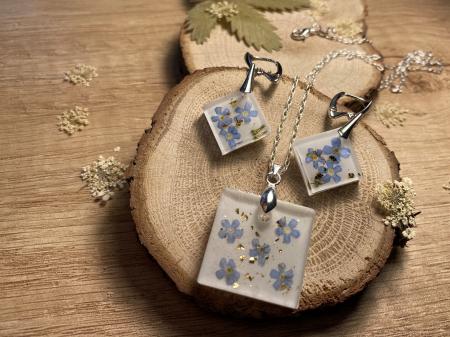 Set de bijuterii din argint cu flori de nu ma uita5