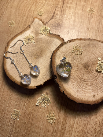 Set de bijuterii din rasina cu flori de nu ma uita3