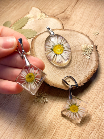 Set de bijuterii din argint cu flori - Set bijuterii handmade [0]