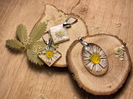 Set de bijuterii din argint cu flori - Set bijuterii handmade [2]