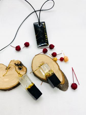 Set de bijuterii din foita de aur si fire de papadie [4]