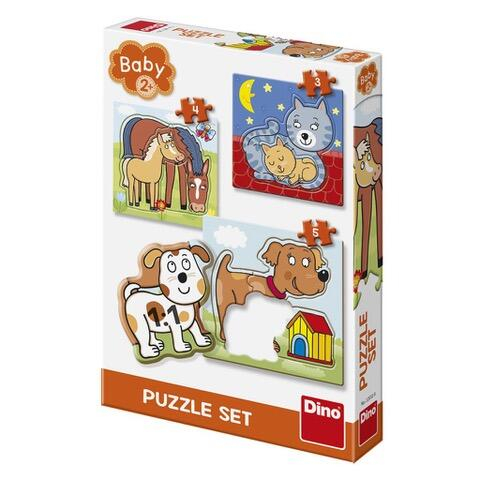 Baby puzzle - Animalute jucause (3-5 piese) 0