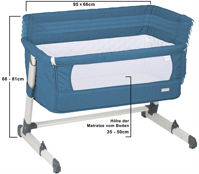 BabyGo - Patut co-sleeper 2 in 1 Together Turquoise Blue 3