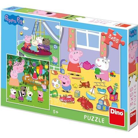 Puzzle 3 in 1 - Purcelusa Peppa in vacanta (55 piese) 1